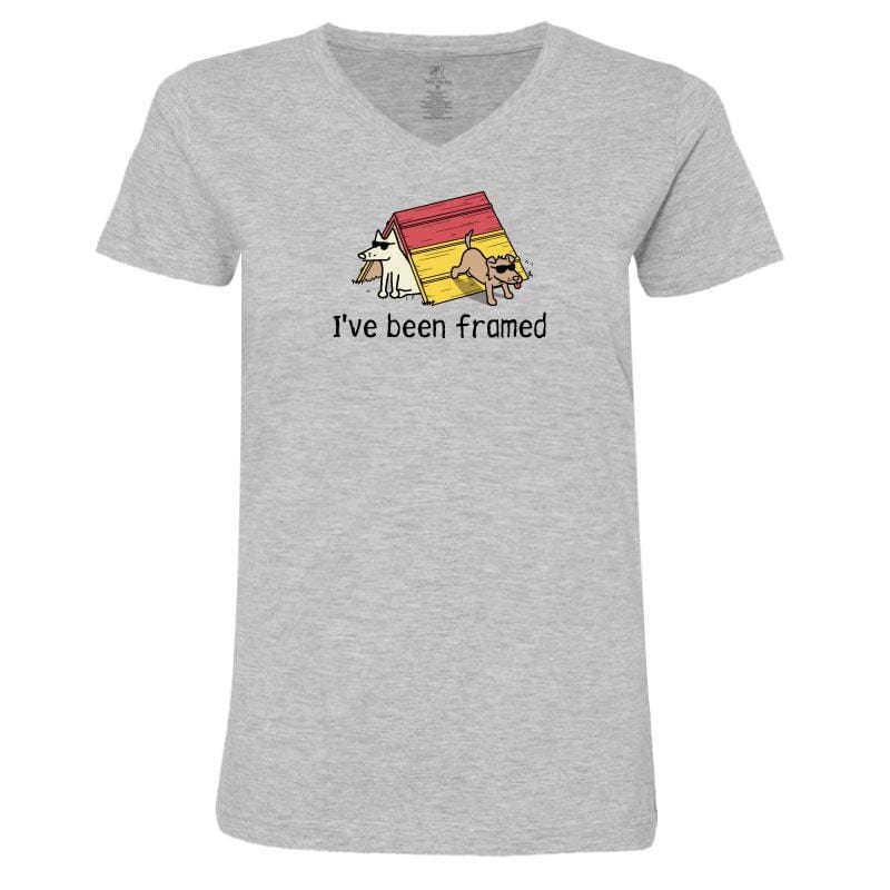 I've Been Framed Ladies V-Neck Tee - Teddy the Dog T-Shirts and Gifts