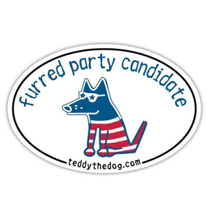 Furred Party Candidate - Car Magnet - Teddy the Dog T-Shirts and Gifts