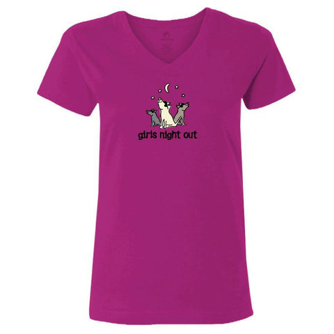 girls night out ladies v neck t-shirt