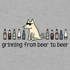 Grinning Beer To Beer - Ladies T-Shirt V-Neck - Teddy the Dog T-Shirts and Gifts