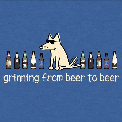 Grinning Beer to Beer - T-Shirt Lightweight Blend - Teddy the Dog T-Shirts and Gifts