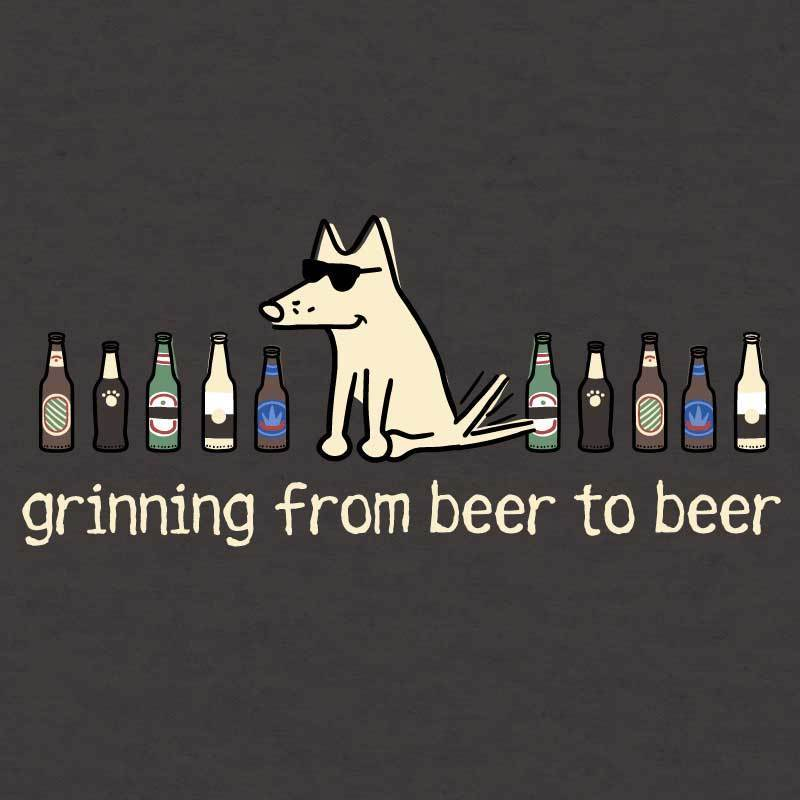 Grinning Beer To Beer - Ladies Curvy V-Neck Tee - Teddy the Dog T-Shirts and Gifts