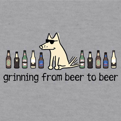 Grinning Beer to Beer - Baseball T-Shirt - Teddy the Dog T-Shirts and Gifts