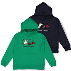 Happy Camper - Youth Pullover Hoodie - Teddy the Dog T-Shirts and Gifts