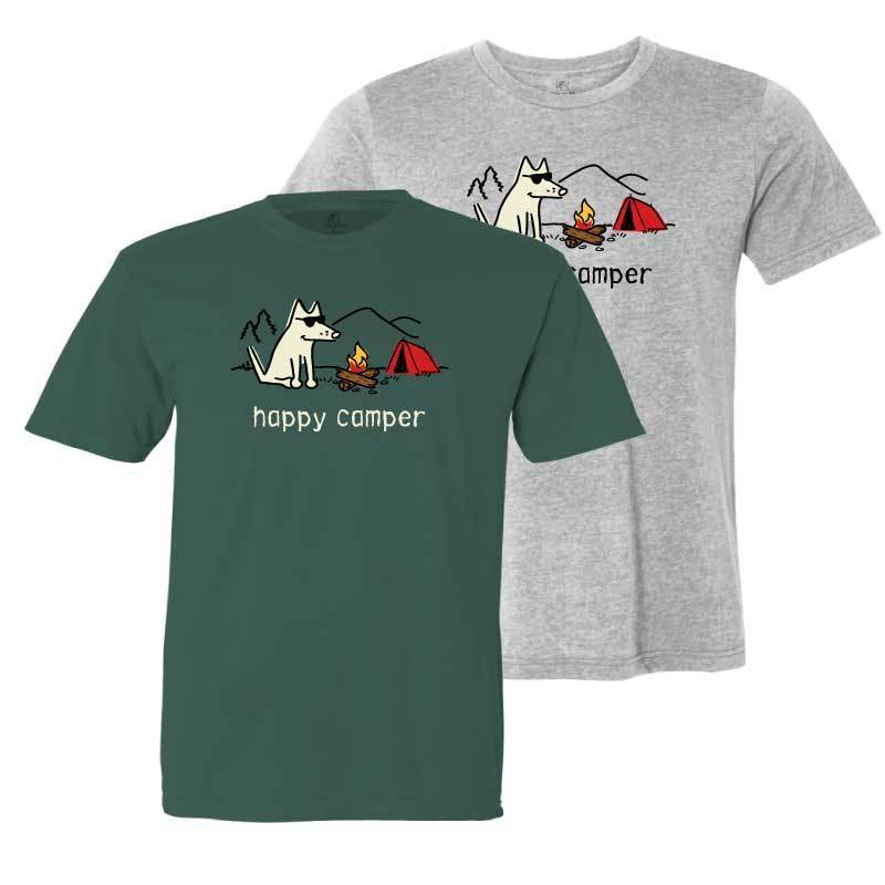 Happy Camper - Youth Short Sleeve T-Shirt - Teddy the Dog T-Shirts and Gifts