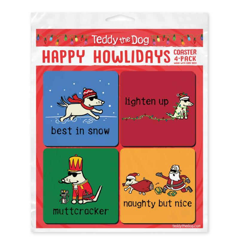 Happy Howlidays Coaster 4-Pack - Teddy the Dog T-Shirts and Gifts
