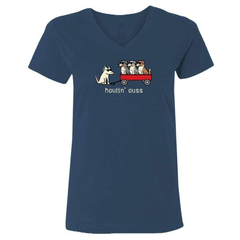 Haulin' Auss - Ladies T-Shirt V-Neck - Teddy the Dog T-Shirts and Gifts
