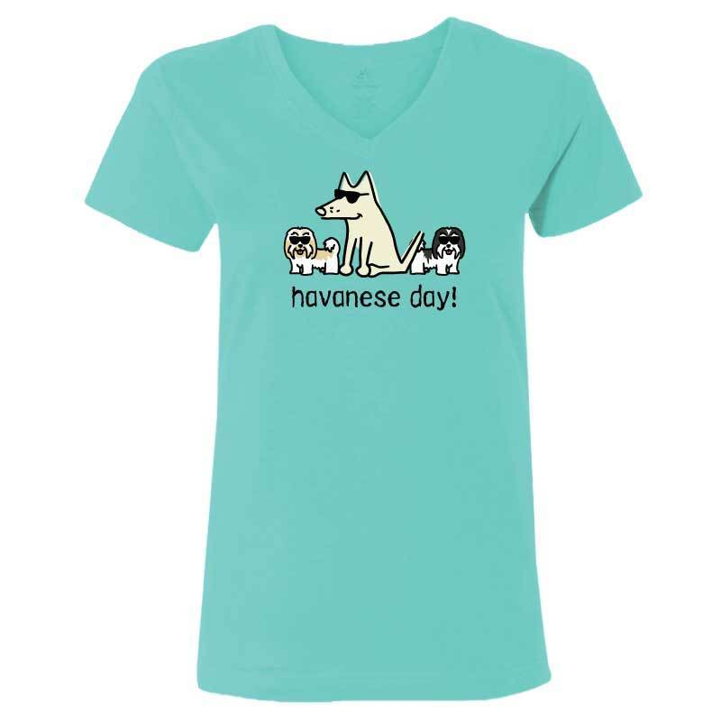 Havanese Day! - Ladies T-Shirt V-Neck - Teddy the Dog T-Shirts and Gifts