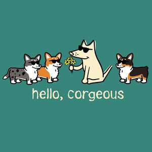 Hello, Corgeous - Ladies T-Shirt 3-4 Sleeve - Teddy the Dog T-Shirts and Gifts