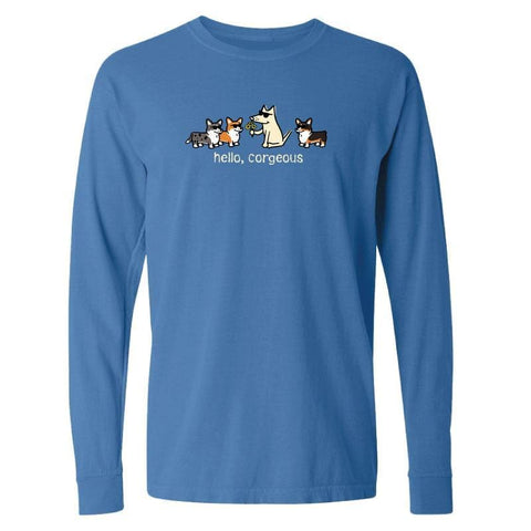 Hello, Corgeous - Long-Sleeve T-Shirt Classic - Teddy the Dog T-Shirts and Gifts