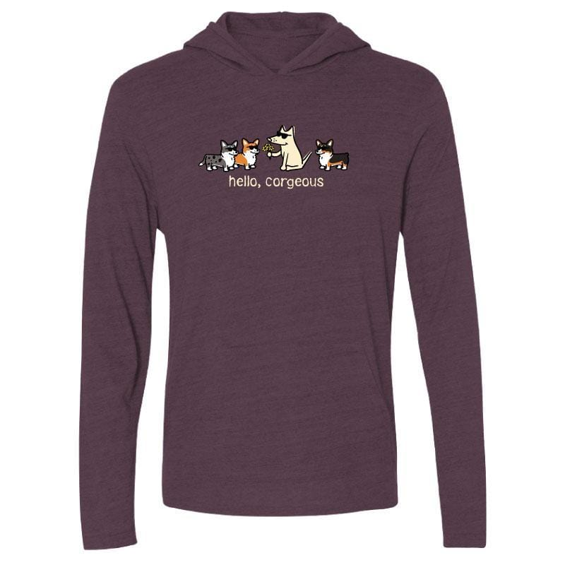 Hello, Corgeous - Long-Sleeve Hoodie T-Shirt - Teddy the Dog T-Shirts and Gifts