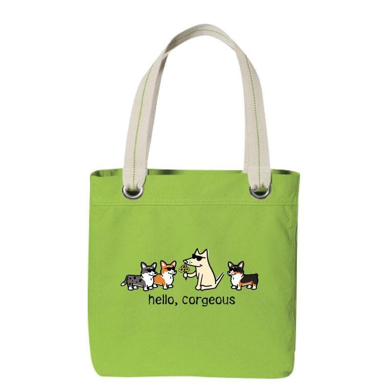 Hello, Corgeous - Canvas Tote - Teddy the Dog T-Shirts and Gifts