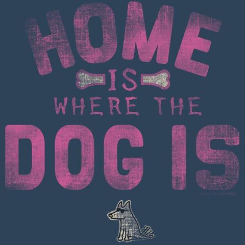 Home is Where the Dog Is (Pink Text) - Ladies T-Shirt V-Neck - Teddy the Dog T-Shirts and Gifts