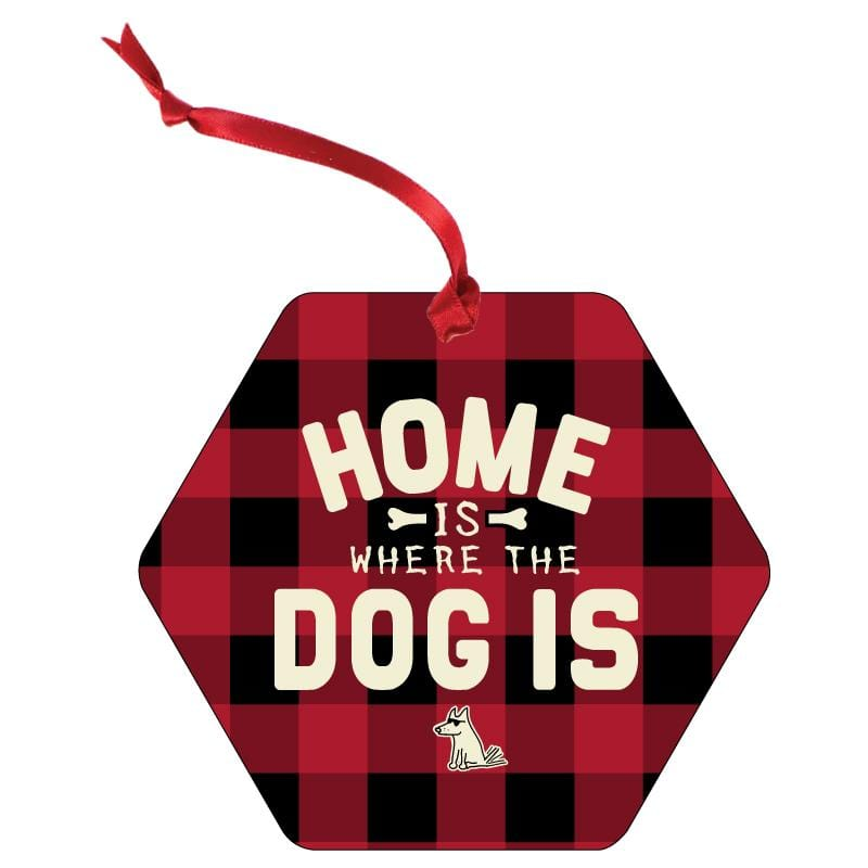 Home Is Where The Dog Is - Aluminum Christmas Ornament