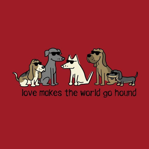 Love Makes The World Go Hound - Ladies T-Shirt V-Neck