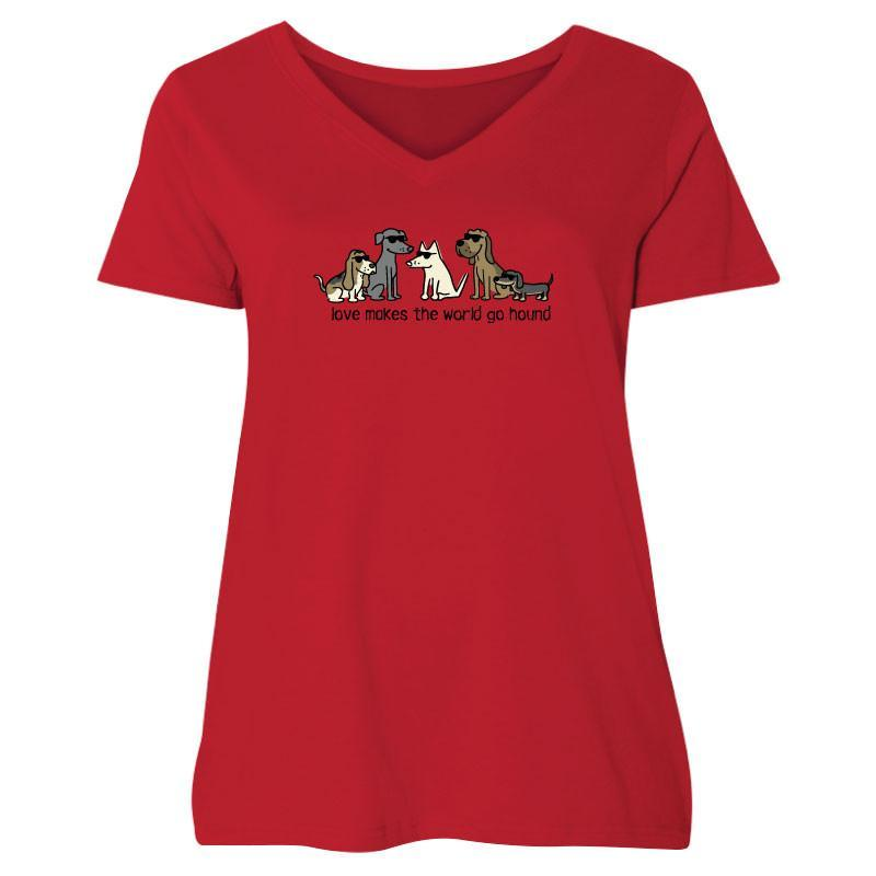 Love Makes The World Go Hound Ladies Curvy V-Neck Tee