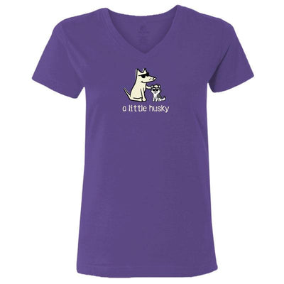 A Little Husky - Ladies T-Shirt V-Neck - Teddy the Dog T-Shirts and Gifts