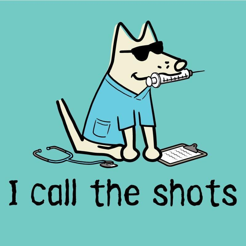 I Call The Shots Ladies V-Neck T-Shirt - Teddy the Dog T-Shirts and Gifts
