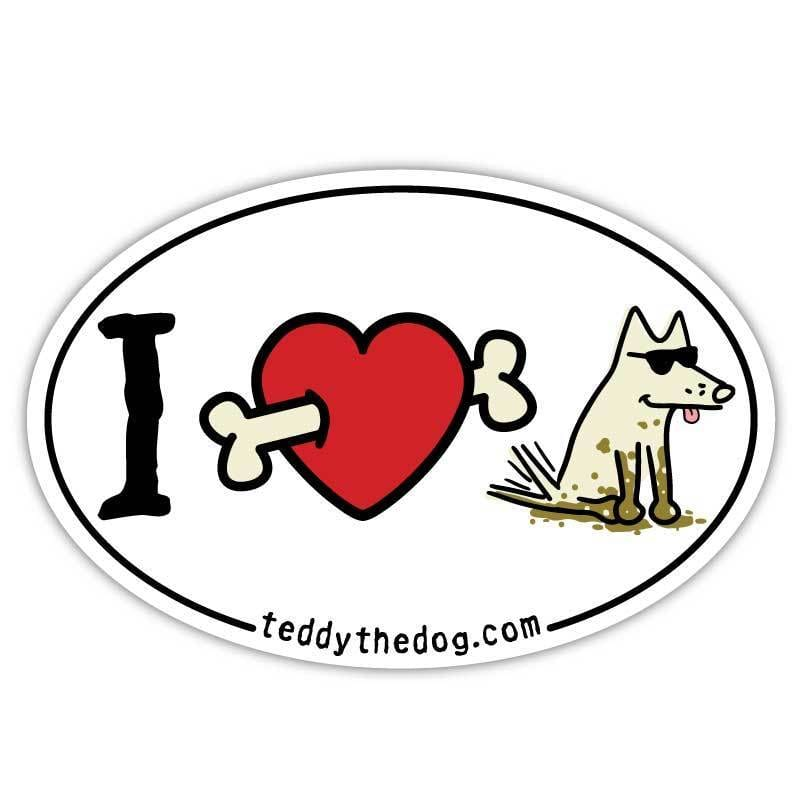 I Love Dogs (Bone Arrow) - Car Magnet - Teddy the Dog T-Shirts and Gifts