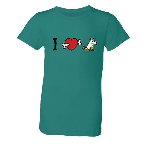 I Love Dogs (Bone Arrow) - Girls T-Shirt - Teddy the Dog T-Shirts and Gifts