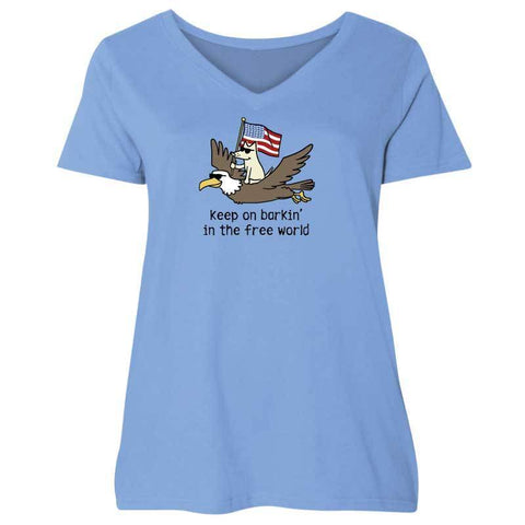 Keep On Barkin' In The Free World  - Ladies Curvy V-Neck Tee