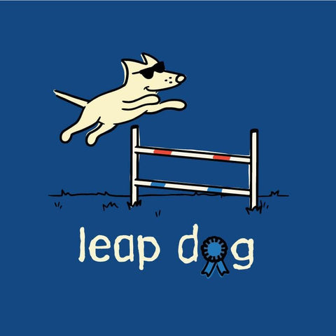 Leap Dog Ladies V-Neck Tee - Teddy the Dog T-Shirts and Gifts
