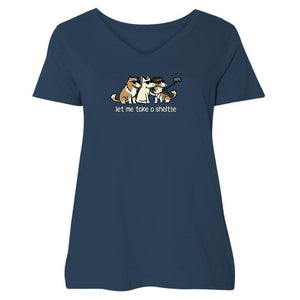 Let Me Take a Sheltie - Ladies Curvy V-Neck Tee