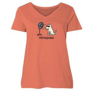 Menopaws - Ladies Curvy V-Neck Tee