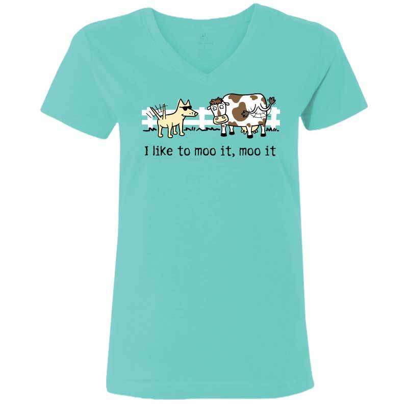 I Like To Moo It, Moo It - Ladies T-Shirt V-Neck