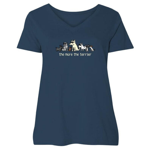 The More The Terrier Ladies Curvy V-Neck Tee