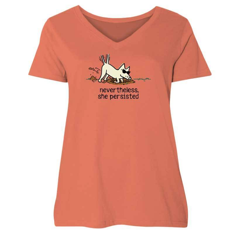Nevertheless, She Persisted  - Ladies Curvy V-Neck Tee