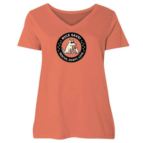 Nice Save! - Ladies Curvy V-Neck Tee