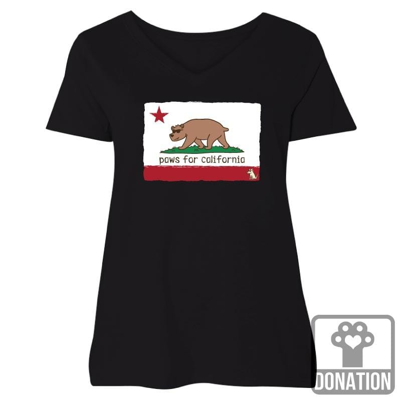Paws For California - Ladies Curvy V-Neck Tee
