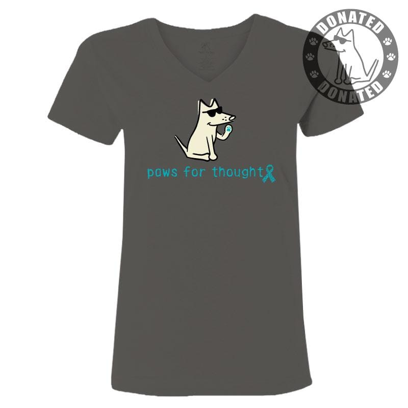 Paws For Thought-Get Teal  - Ladies T-Shirt V-Neck