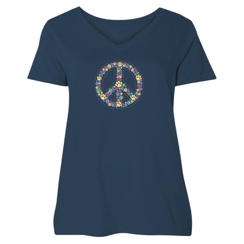 Paws For Peace - Ladies Curvy V-Neck Tee