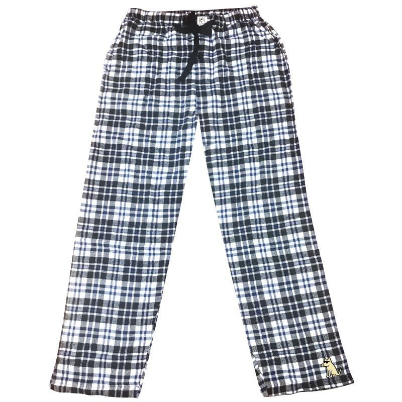 Teddy's Plaid Flannel Pants - White + Blue
