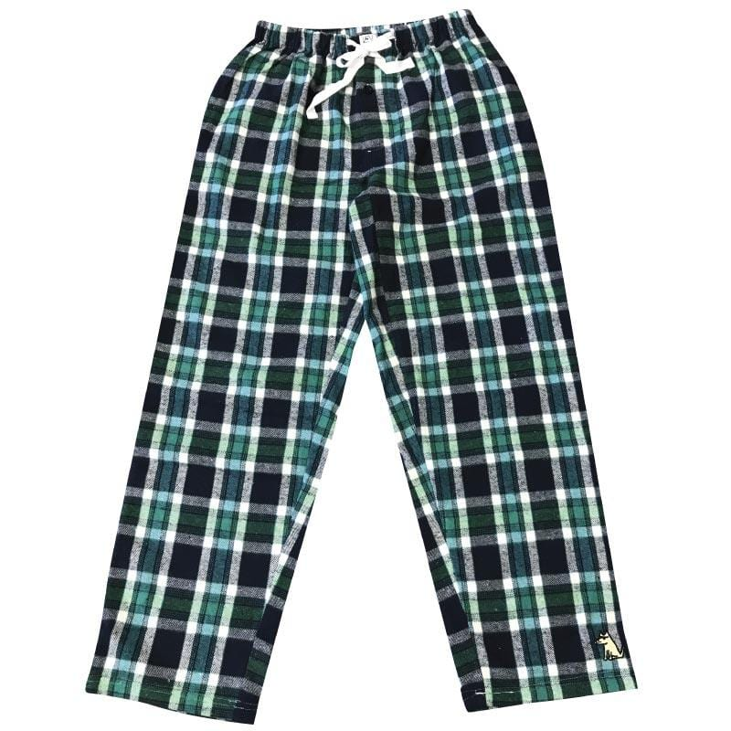 Teddy's Plaid Flannel Pants - Green + Navy