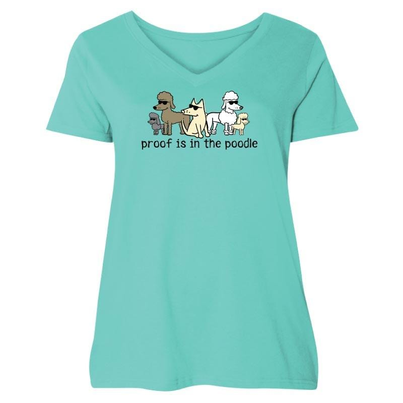 Proof Is In The Poodle - Ladies Curvy V-Neck Tee