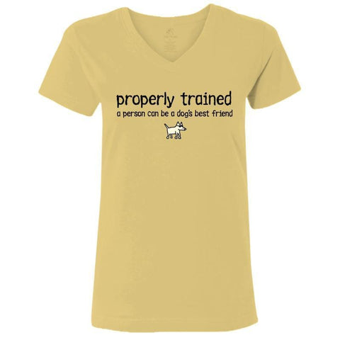 properly trained ladies v neck t-shirt