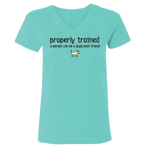 Properly Trained - Ladies T-Shirt V-Neck