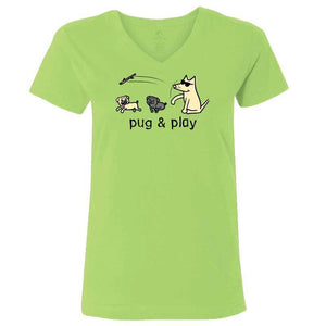 Pug & Play - Ladies T-Shirt V-Neck