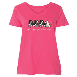 Put A Springer In Your Step - Ladies Curvy V-Neck Tee