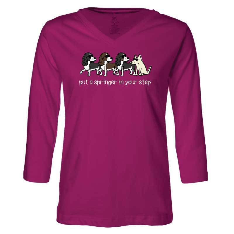 Put A Springer in Your Step- Ladies T-Shirt 3-4 Sleeve