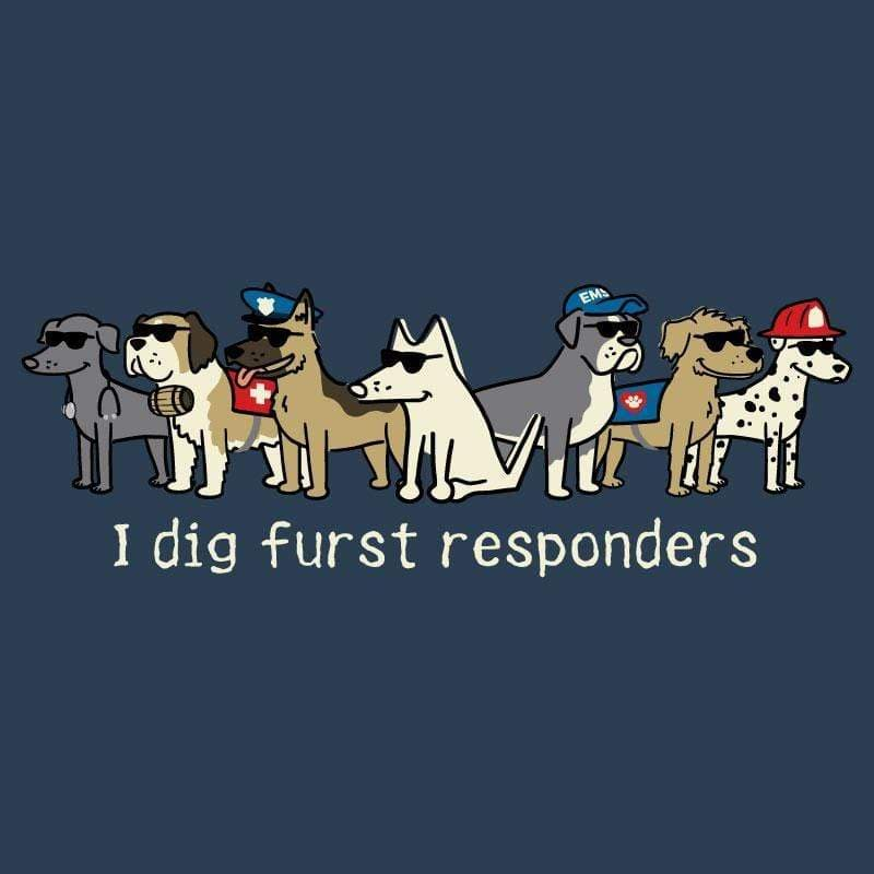 I Dig Furst Responders - Ladies Curvy V-Neck Tee - Teddy the Dog T-Shirts and Gifts