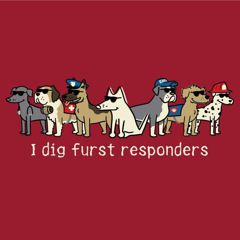 I Dig Furst Responders - Canvas Tote - Teddy the Dog T-Shirts and Gifts
