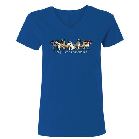 I Dig Furst Responders - Ladies T-Shirt V-Neck - Teddy the Dog T-Shirts and Gifts