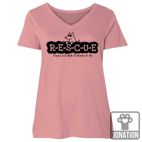 R-E-S-C-U-E Found Out What It Means To Me - Ladies Curvy V-Neck Tee