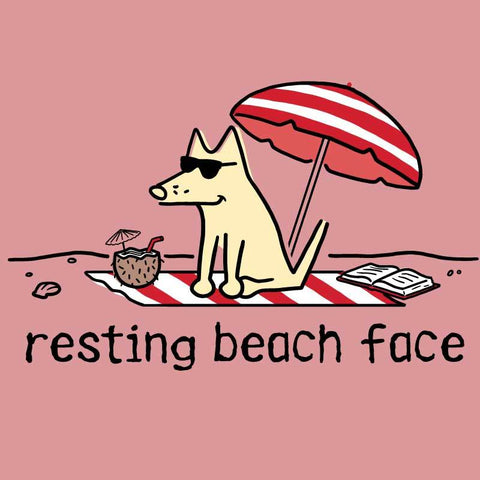 Resting Beach Face - Ladies Curvy V-Neck Tee