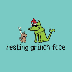 Resting Grinch Face - Ladies Curvy V-Neck Tee