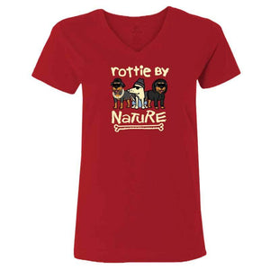 Rottie By Nature  - Ladies T-Shirt V-Neck